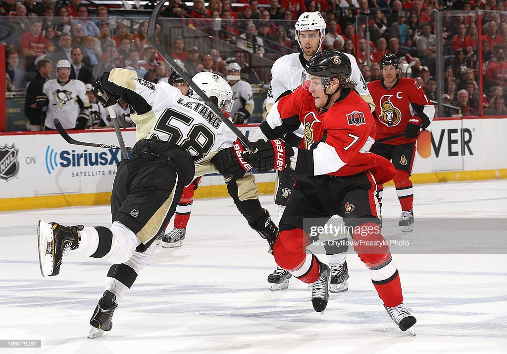 Kyle Turris #7 of the Ottawa Senators skates past Kris Letang #58 of the Pittsburgh Penguins in Game Three of the Eastern Conference Semifinals during the 2013 NHL Stanley Cup Playoffs, at Scotiabank Place, on May 19, 2013 in Ottawa, Ontario, Canada.