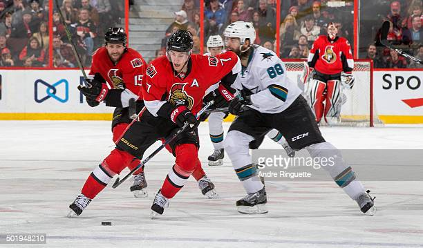 Kyle Turris of the Ottawa Senators skates up ice with the puck against the San Jose Sharks at Canadian Tire Centre on December 18 2015 in Ottawa...