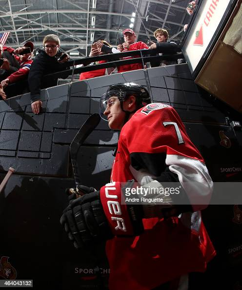 Kyle Turris of the Ottawa Senators walks down the players' tunnel for warmup prior to a game against the Montreal Canadiens at Canadian Tire Centre...