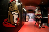 Kyle Turris of the Ottawa Senators walks down the players' tunnel after warmup prior to a game against the Montreal Canadiens at Canadian Tire Centre...