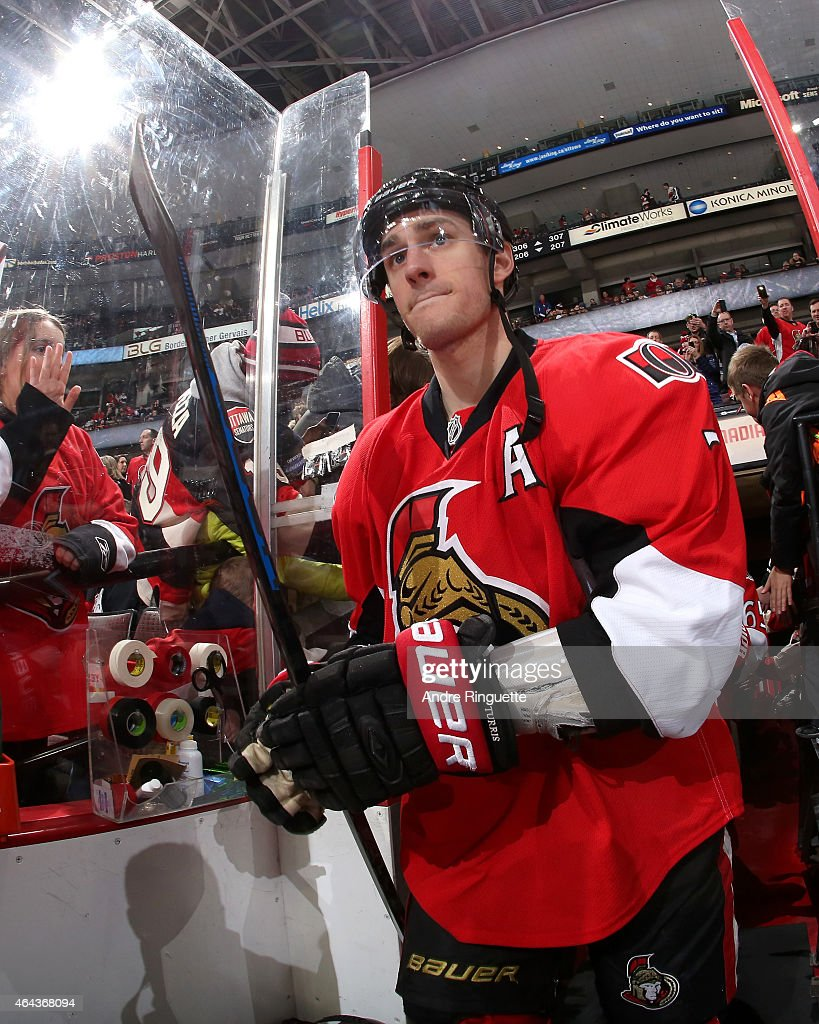 Kyle Turris of the Ottawa Senators walks out for warm up prior to a game against the Florida Panthers at Canadian Tire Centre on February 21 2015 in...