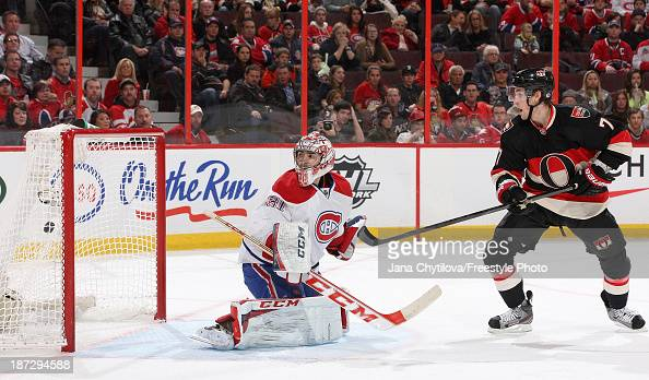 Kyle Turris of the Ottawa Senators watches the puck get past Carey Price of the Montreal Canadiens in the second period for a 31 Ottawa lead during...