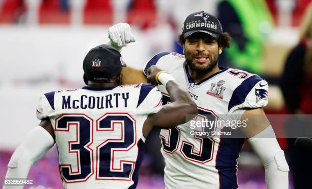 Kyle Van Noy and Devin McCourty of the New England Patriots celebrate after defeating the Atlanta Falcons 3428 in overtime during Super Bowl 51 at...