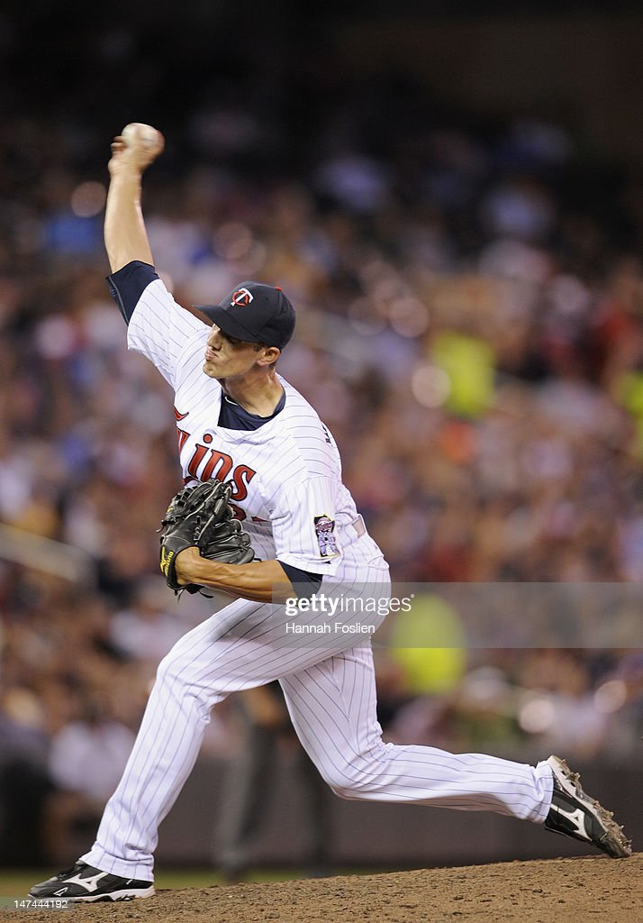 Kyle Waldrop #57 of the Minnesota Twins delivers a pitch against the Kansas City Royals during the seventh inning on June 29, 2012 at Target Field in Minneapolis, Minnesota. The Royals defeated the Twins 4-3.