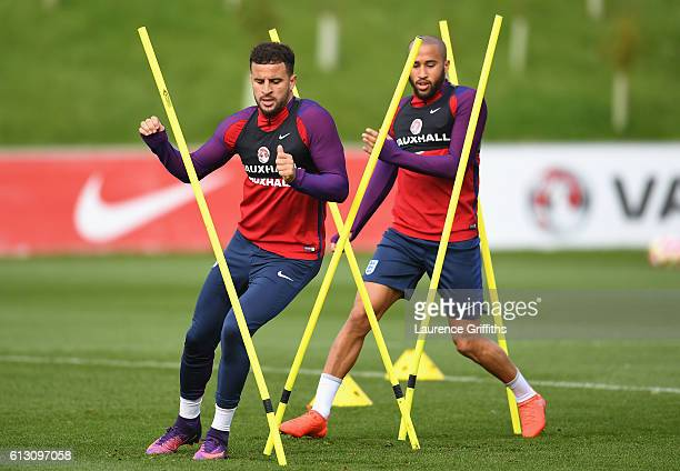 Kyle Walker and Andros Townsend of England warm up during an England training session ahead of the FIFA 2018 World Cup Group F Qualifier match...