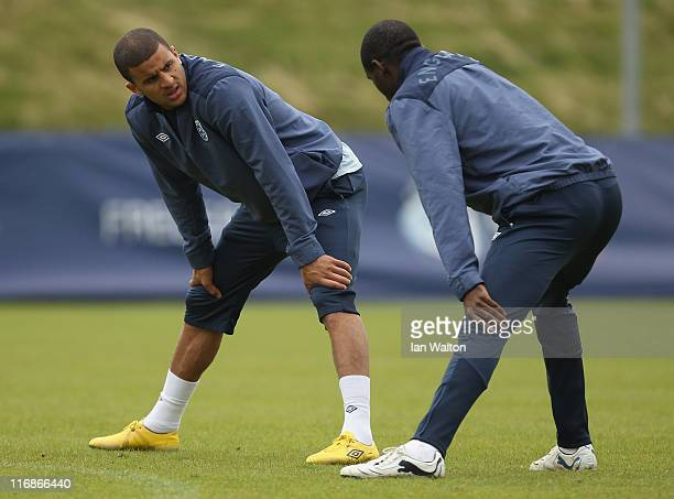 Kyle Walker and Fabrice Muamba during the England under 21's training session at Monjasa Park stadium on June 18 2011 in Fredericia Denmark