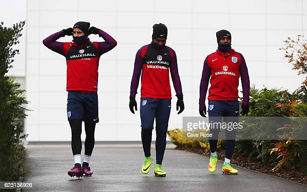 Kyle Walker Daniel Sturridge and Danny Rose look on during an England training session on the eve of their international friendly match against Spain...
