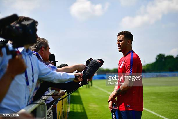 Kyle Walker is interviewed after an England training session ahead of the UEFA EURO 2016 at Stade du Bourgognes on June 7 2016 in Chantilly France...