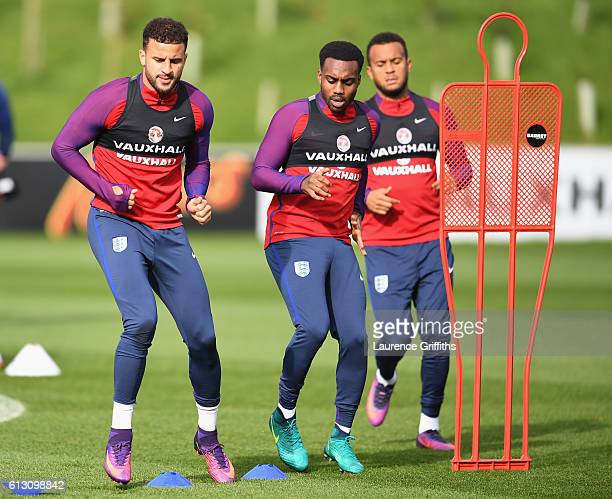 Kyle Walker of England and Danny Rose of England warm up during an England training session ahead of the FIFA 2018 World Cup Group F Qualifier match...