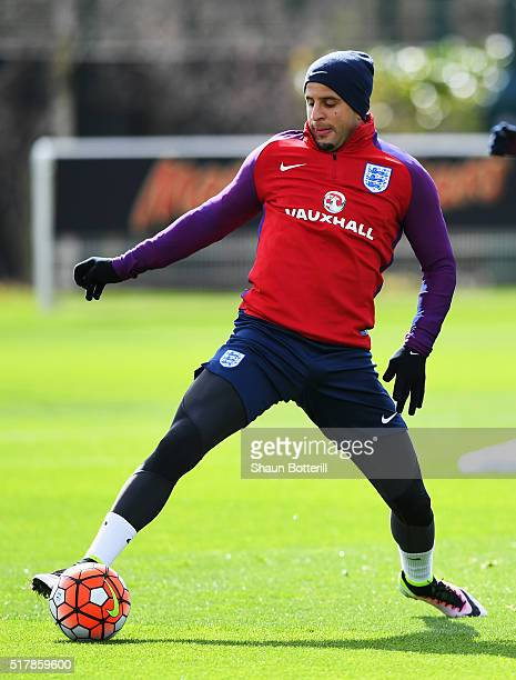 Kyle Walker of England controls the ball during a training session prior to the International Friendly match against the Netherlands at the Tottenham...
