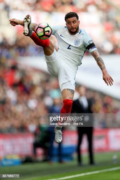 Kyle Walker of England leaps to control the ball during the FIFA 2018 World Cup Qualifier between England and Lithuania at Wembley Stadium on March...