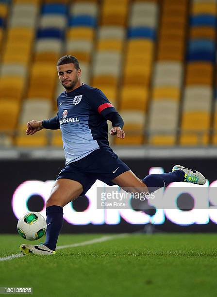 Kyle Walker of England participates in a training session at the Olympic Stadium on September 9 2013 in Kiev Ukraine