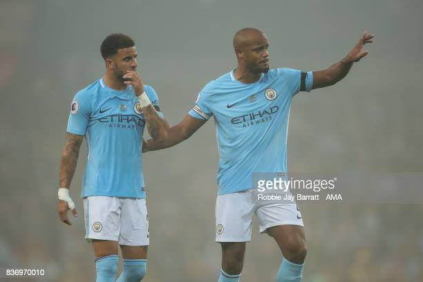 Kyle Walker of Manchester City and Vincent Kompany of Manchester City during the Premier League match between Manchester City and Everton at Etihad...