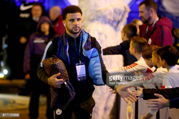 Kyle Walker of Manchester City arrives to the stadium prior to the UEFA Champions League group F match between Manchester City and Feyenoord at...
