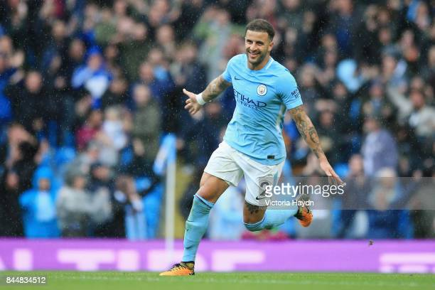 Kyle Walker of Manchester City celebrates victory after the Premier League match between Manchester City and Liverpool at Etihad Stadium on September...