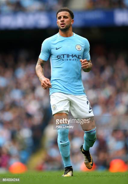 Kyle Walker of Manchester City during the Premier League match between Manchester City and Crystal Palace at Etihad Stadium on September 23 2017 in...