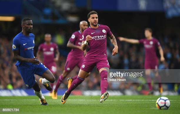 Kyle Walker of Manchester City in action during the Premier League match between Chelsea and Manchester City at Stamford Bridge on September 30 2017...