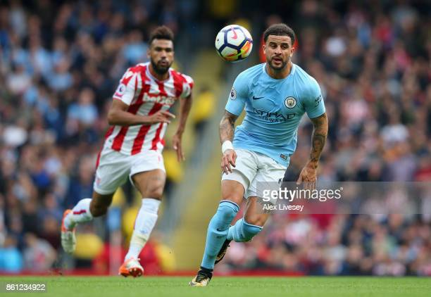 Kyle Walker of Manchester City in action during the Premier League match between Manchester City and Stoke City at Etihad Stadium on October 14 2017...