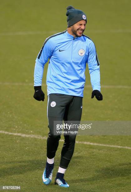 Kyle Walker of Manchester City reacts during Manchester City Training ahead of the Champions League group F match between Manchester City and...