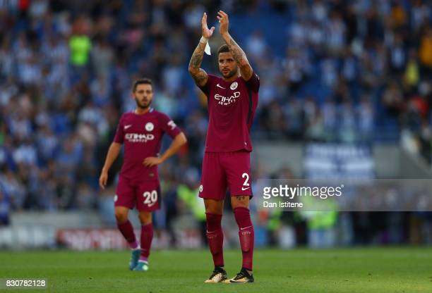 Kyle Walker of Manchester City shows appreciation to the fans after the Premier League match between Brighton and Hove Albion and Manchester City at...