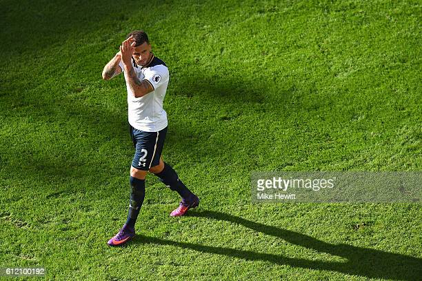 Kyle Walker of Tottenham acknowledges the crowd at the end of the Premier League match between Tottenham Hotspur and Manchester City at White Hart...