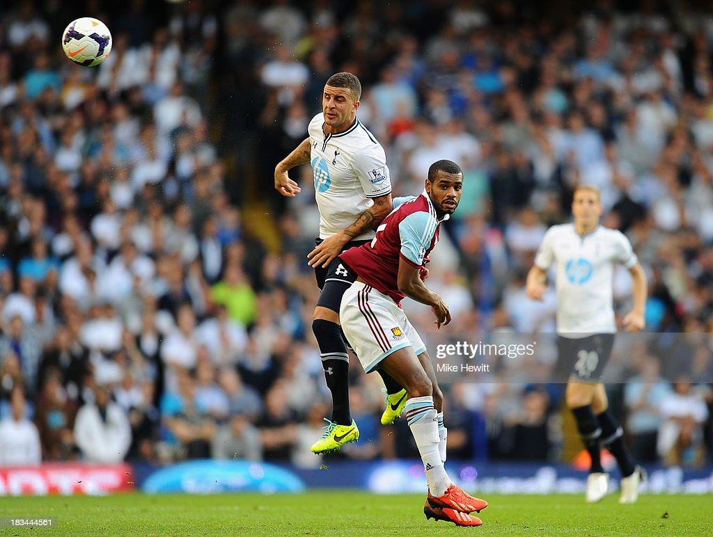<a gi-track='captionPersonalityLinkClicked' href=/galleries/search?phrase=Kyle+Walker&family=editorial&specificpeople=5609702 ng-click='$event.stopPropagation()'>Kyle Walker</a> of Tottenham (L) beats <a gi-track='captionPersonalityLinkClicked' href=/galleries/search?phrase=Ricardo+Vaz+Te&family=editorial&specificpeople=645494 ng-click='$event.stopPropagation()'>Ricardo Vaz Te</a> of West Ham to a header during the Barclays Premier League match between Tottenham Hotspur and West Ham United at White Hart Lane on October 6, 2013 in London, England.