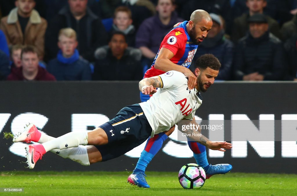 Kyle Walker of Tottenham Hotspur and Andros Townsend of Crystal Palace in action during the Premier League match between Crystal Palace and Tottenham Hotspur at Selhurst Park on April 26, 2017 in London, England.