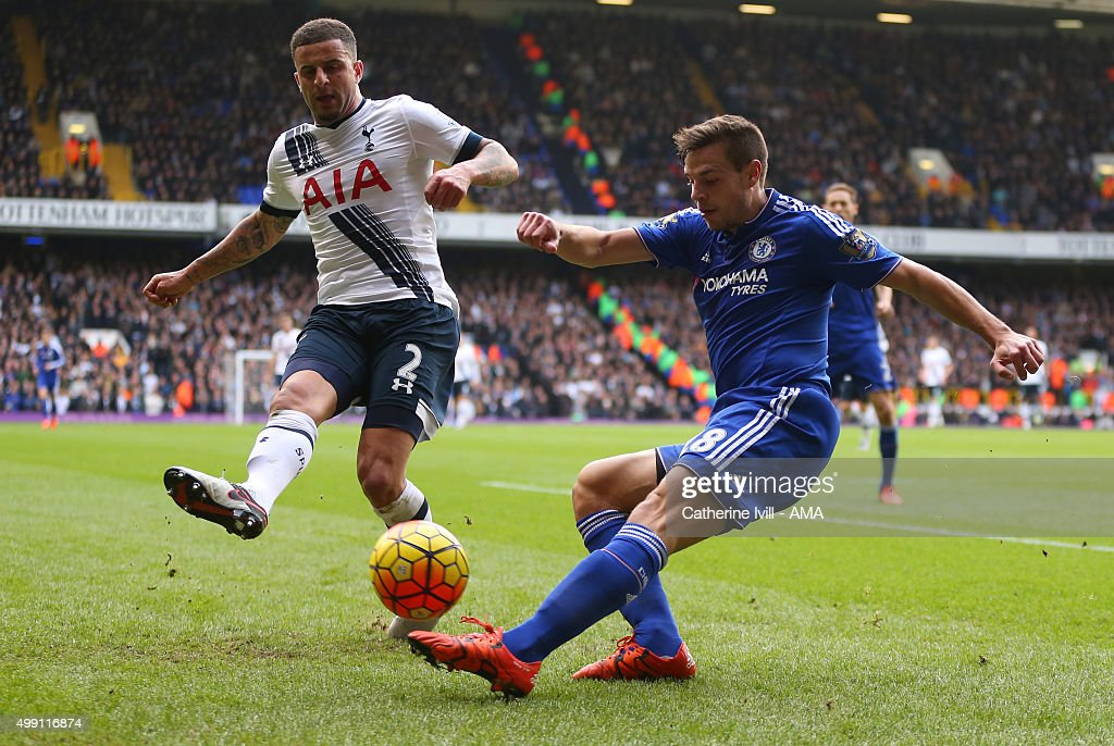 <a gi-track='captionPersonalityLinkClicked' href=/galleries/search?phrase=Kyle+Walker&family=editorial&specificpeople=5609702 ng-click='$event.stopPropagation()'>Kyle Walker</a> of Tottenham Hotspur and Cesar Azpilicueta of Chelsea during the Barclays Premier League match between Tottenham Hotspur and Chelsea at White Hart Lane on November 29, 2015 in London, England.