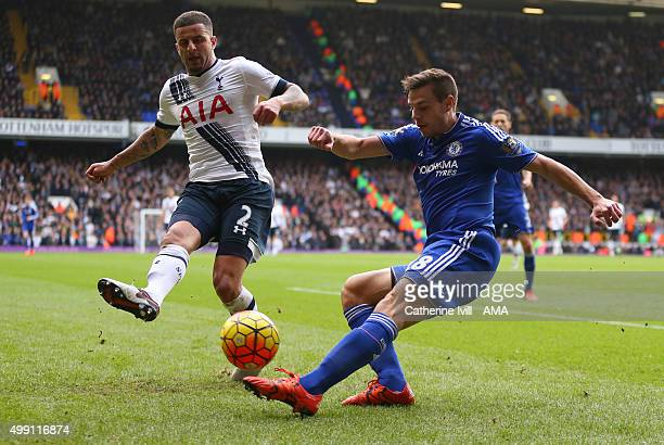Kyle Walker of Tottenham Hotspur and Cesar Azpilicueta of Chelsea during the Barclays Premier League match between Tottenham Hotspur and Chelsea at...