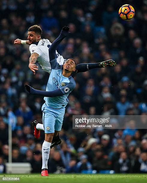 Kyle Walker of Tottenham Hotspur and Gabriel Jesus of Manchester City during the Premier League match between Manchester City and Tottenham Hotspur...