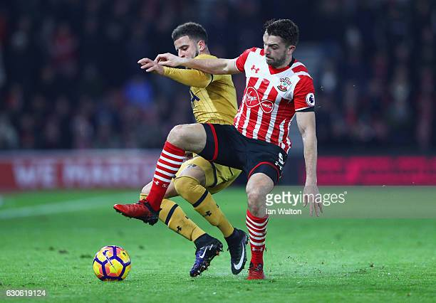 Kyle Walker of Tottenham Hotspur and Jay Rodriguez of Southampton battle for the ball during the Premier League match between Southampton and...