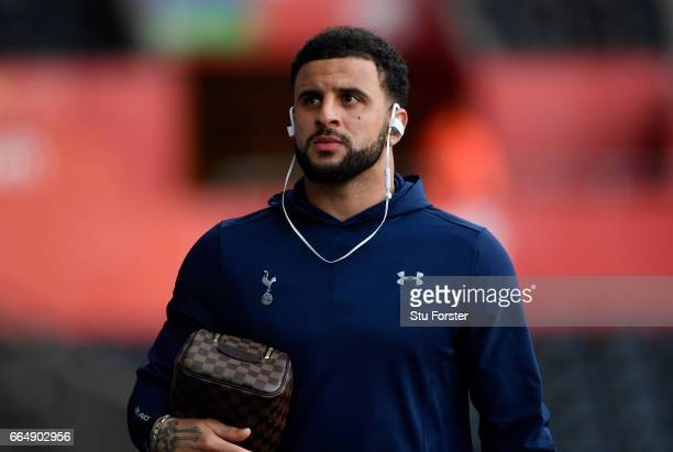 Kyle Walker of Tottenham Hotspur arrives at the stadium prior to the Premier League match between Swansea City and Tottenham Hotspur at the Liberty...