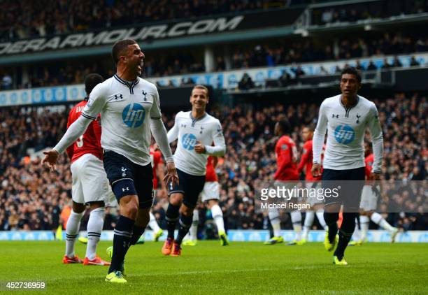 Kyle Walker of Tottenham Hotspur celebrates scoring the opening goal during the Barclays Premier League Match between Tottenham Hotspur and...