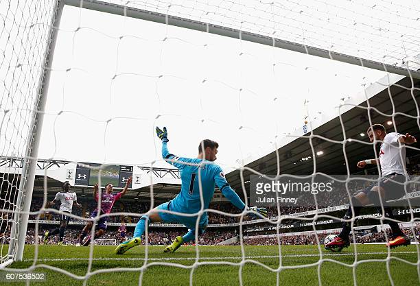 Kyle Walker of Tottenham Hotspur clears the ball off the line during the Premier League match between Tottenham Hotspur and Sunderland at White Hart...