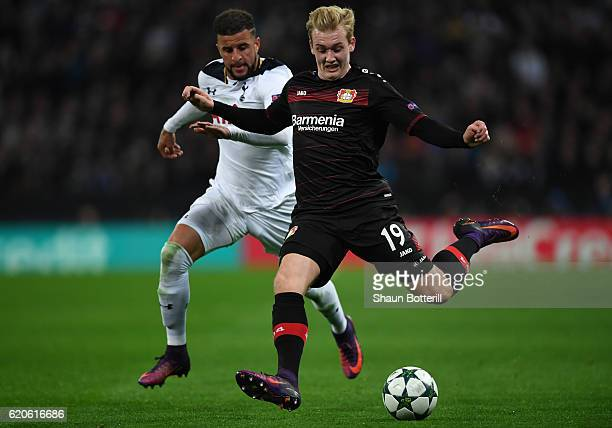 Kyle Walker of Tottenham Hotspur closes down Julian Brandt of Bayer Leverkusen during the UEFA Champions League Group E match between Tottenham...