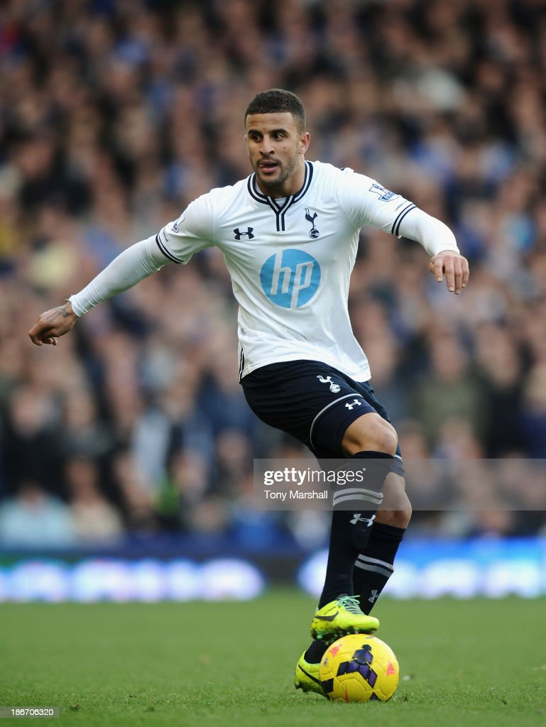 Kyle Walker of Tottenham Hotspur during the Barclays Premier League match between Everton and Tottenham Hotspur at Goodison Park on November 3, 2013 in Liverpool, England.