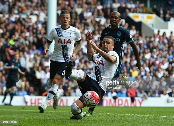 Kyle Walker of Tottenham Hotspur in aciton during the Barclays Premier League match between Tottenham Hotspur and Manchester City at White Hart Lane...