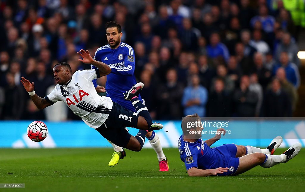 Kyle Walker of Tottenham Hotspur is brought down by Branislav Ivanovic of Chelsea during the Barclays Premier League match between Chelsea and Tottenham Hotspur at Stamford Bridge on May 02, 2016 in London, England.