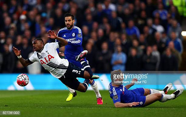 Kyle Walker of Tottenham Hotspur is brought down by Branislav Ivanovic of Chelsea during the Barclays Premier League match between Chelsea and...