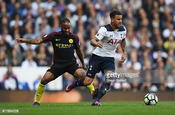 Kyle Walker of Tottenham Hotspur is clipped by Raheem Sterling of Manchester City during the Premier League match between Tottenham Hotspur and...