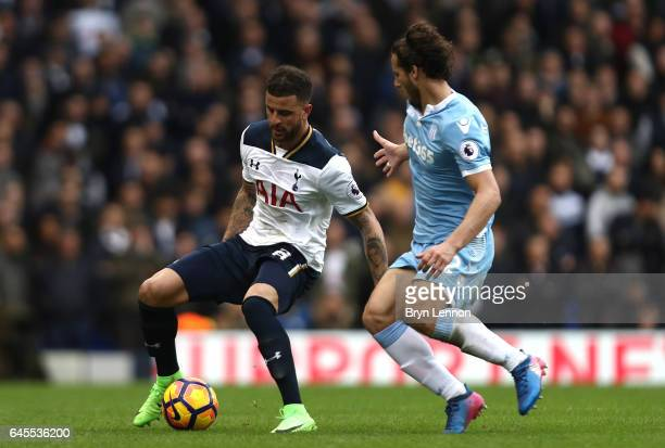 Kyle Walker of Tottenham Hotspur is closed down by Ramadan Sobhi of Stoke City during the Premier League match between Tottenham Hotspur and Stoke...