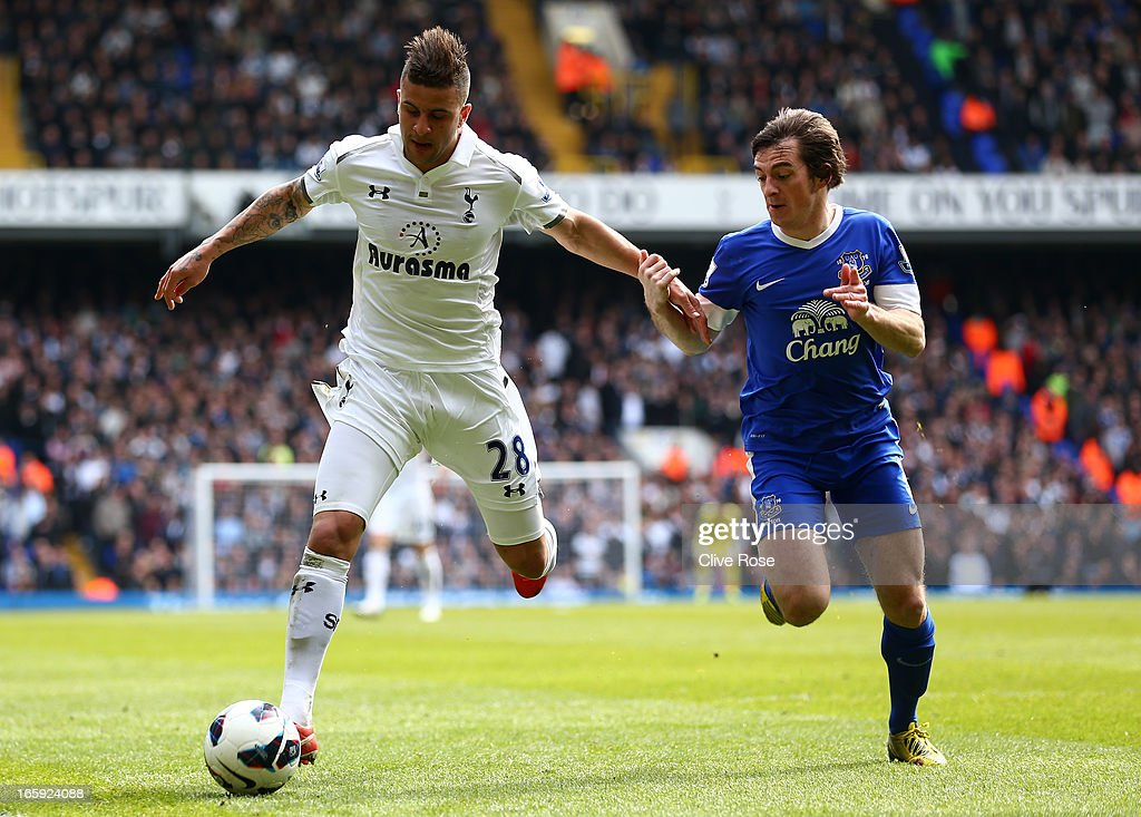 Kyle Walker of Tottenham Hotspur is put under pressure by Leighton Baines of Everton as he goes to cross the ball during the Barclays Premier League match between Tottenham Hotspur and Everton at White Hart Lane on April 7, 2013 in London, England.