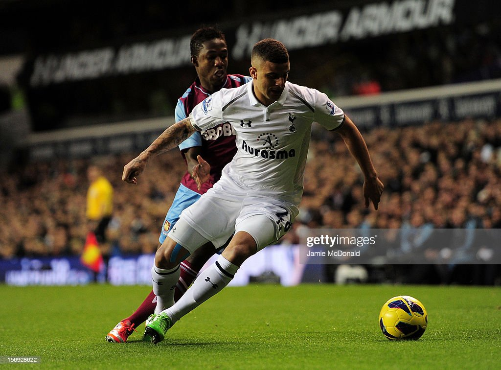 Kyle Walker of Tottenham Hotspur is put under pressure by Modibo Maiga of West Ham United during the Barclays Premier League match between Tottenham Hotspur and West Ham United at White Hart Lane on November 25, 2012 in London, England.