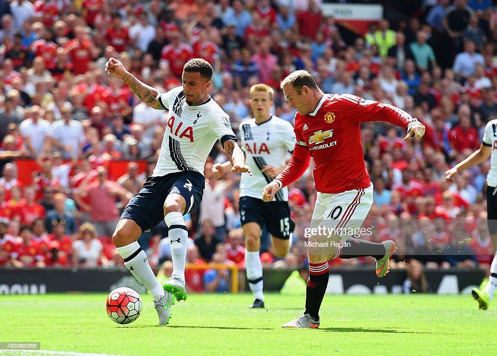 <a gi-track='captionPersonalityLinkClicked' href=/galleries/search?phrase=Kyle+Walker&family=editorial&specificpeople=5609702 ng-click='$event.stopPropagation()'>Kyle Walker</a> (L) of Tottenham Hotspur kicks the ball resulting in the own goal during the Barclays Premier League match between Manchester United and Tottenham Hotspur at Old Trafford on August 8, 2015 in Manchester, England.