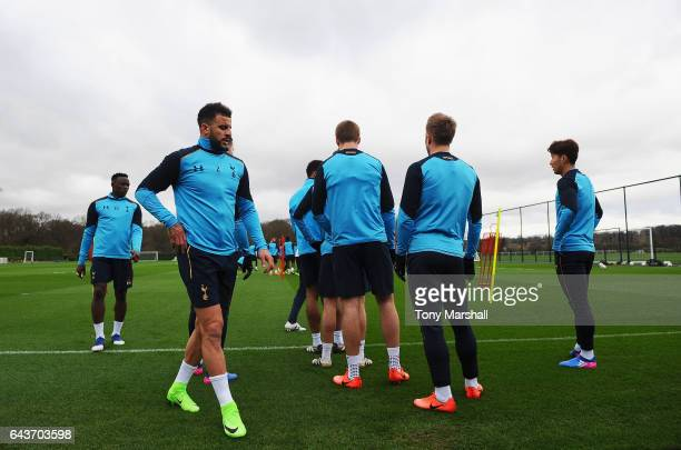 Kyle Walker of Tottenham Hotspur looks on as he runs through a drill with team mates during a Tottenham Hotspur training session on February 22 2017...