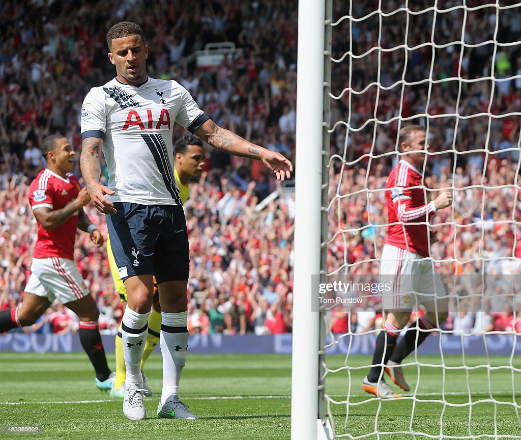 Kyle Walker of Tottenham Hotspur reacts to scoring an own-goal during the Barclays Premier League match between Manchester United and Tottenham Hotspur at Old Trafford on 8 August 2015 in Manchester, England.