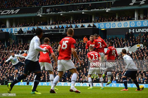 Kyle Walker of Tottenham Hotspur scores the opening goal from a free kick during the Barclays Premier League Match between Tottenham Hotspur and...