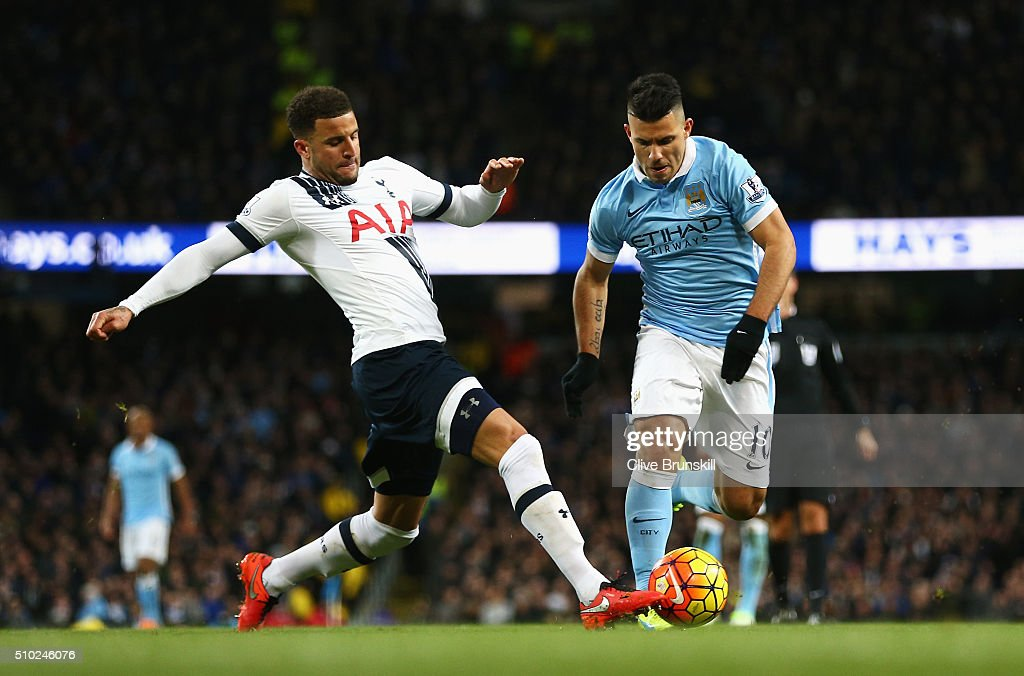 <a gi-track='captionPersonalityLinkClicked' href=/galleries/search?phrase=Kyle+Walker&family=editorial&specificpeople=5609702 ng-click='$event.stopPropagation()'>Kyle Walker</a> of Tottenham Hotspur tackles <a gi-track='captionPersonalityLinkClicked' href=/galleries/search?phrase=Sergio+Aguero&family=editorial&specificpeople=1100704 ng-click='$event.stopPropagation()'>Sergio Aguero</a> of Manchester City during the Barclays Premier League match between Manchester City and Tottenham Hotspur at Etihad Stadium on February 14, 2016 in Manchester, England.