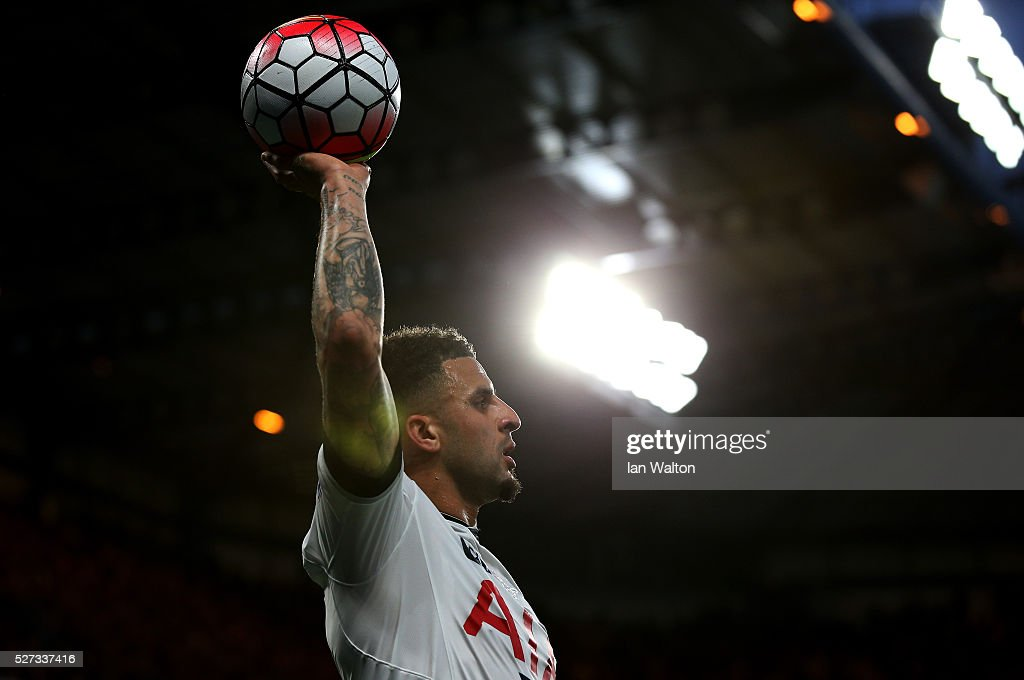 Kyle Walker of Tottenham Hotspur takes a throw in during the Barclays Premier League match between Chelsea and Tottenham Hotspur at Stamford Bridge on May 02, 2016 in London, England.jd