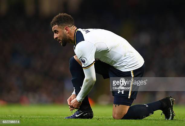 Kyle Walker of Tottenham Hotspur ties his shoe lases up during the Premier League match between Manchester City and Tottenham Hotspur at the Etihad...